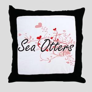 Sea Otters Heart Design Throw Pillow