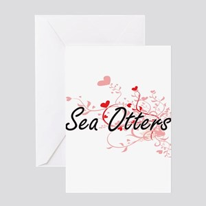 Sea Otters Heart Design Greeting Cards