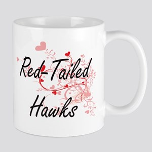 Red-Tailed Hawks Heart Design Mugs