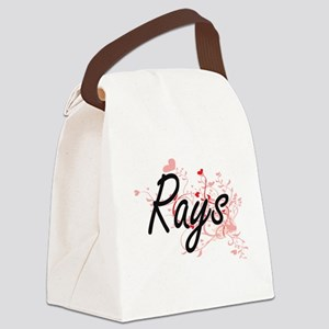 Rays Heart Design Canvas Lunch Bag
