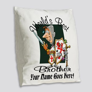 Worlds Best Brother Burlap Throw Pillow