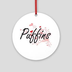 Puffins Heart Design Round Ornament