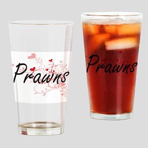Prawns Heart Design Drinking Glass