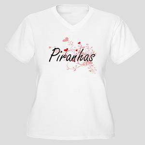 Piranhas Heart Design Plus Size T-Shirt