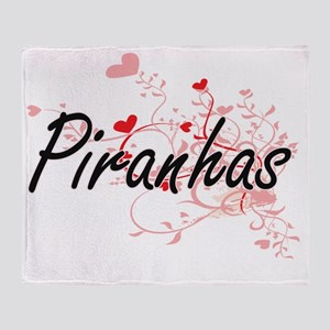 Piranhas Heart Design Throw Blanket