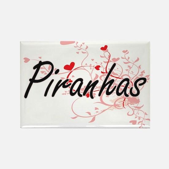 Piranhas Heart Design Magnets