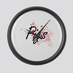 Pigs Heart Design Large Wall Clock