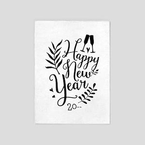 Happy New Year 5'x7'Area Rug