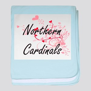 Northern Cardinals Heart Design baby blanket
