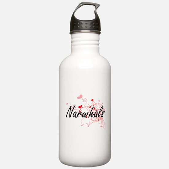 Narwhals Heart Design Water Bottle