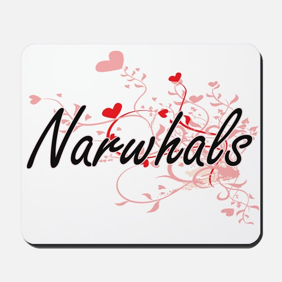 Narwhals Heart Design Mousepad