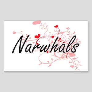 Narwhals Heart Design Sticker