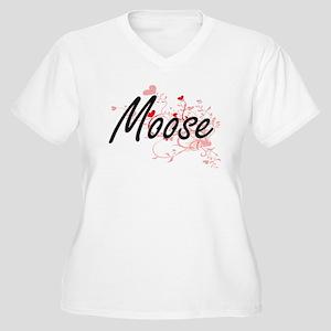 Moose Heart Design Plus Size T-Shirt