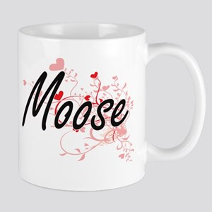 Moose Heart Design Mugs