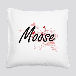 Moose Heart Design Square Canvas Pillow