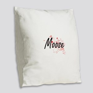 Moose Heart Design Burlap Throw Pillow