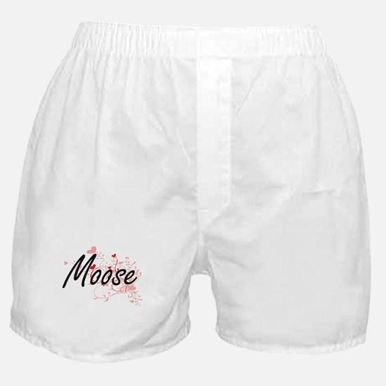 Moose Heart Design Boxer Shorts