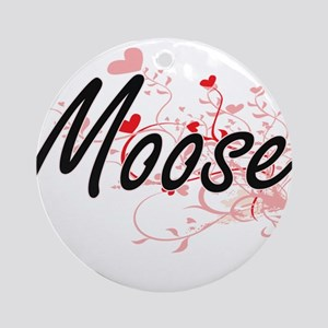 Moose Heart Design Round Ornament