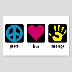Peace, Love, Massage Rectangle Sticker