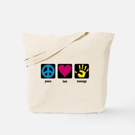 Peace, Love, Massage Tote Bag