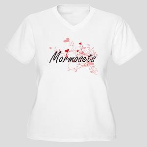 Marmosets Heart Design Plus Size T-Shirt