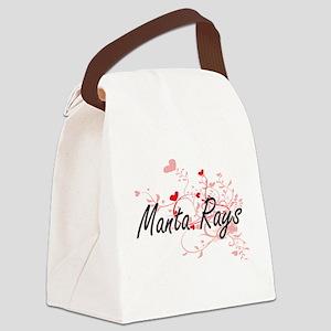 Manta Rays Heart Design Canvas Lunch Bag