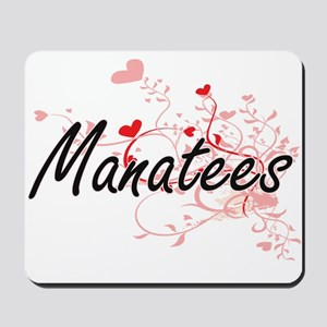 Manatees Heart Design Mousepad
