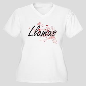 Llamas Heart Design Plus Size T-Shirt