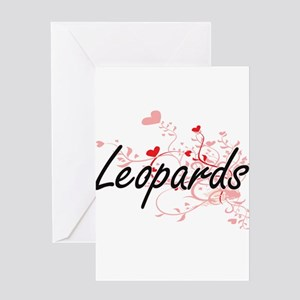 Leopards Heart Design Greeting Cards