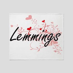 Lemmings Heart Design Throw Blanket