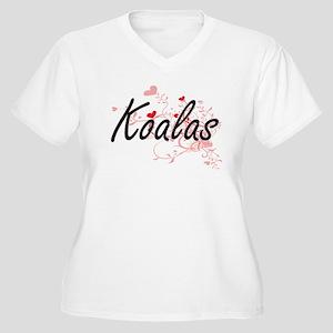 Koalas Heart Design Plus Size T-Shirt