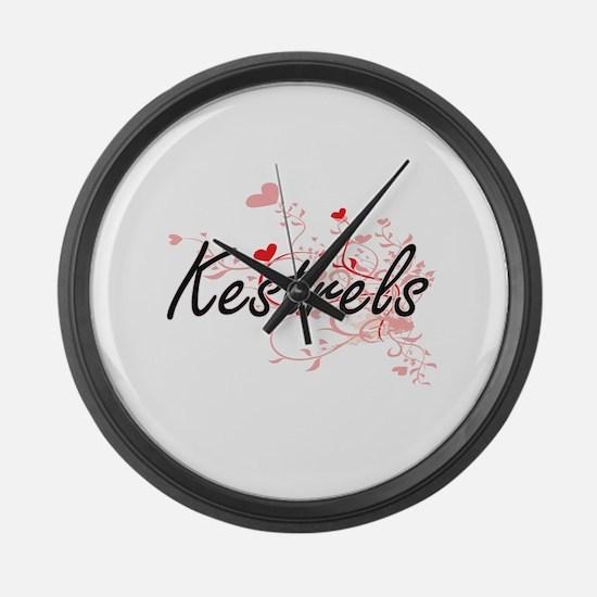 Kestrels Heart Design Large Wall Clock