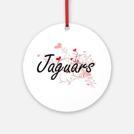 Jaguars Heart Design Round Ornament