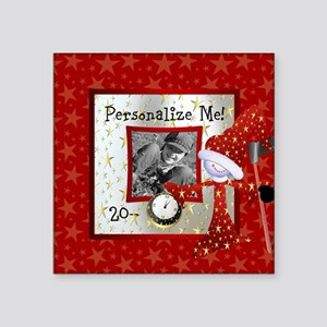 "New Year Custom Photo Square Sticker 3"" x 3"""