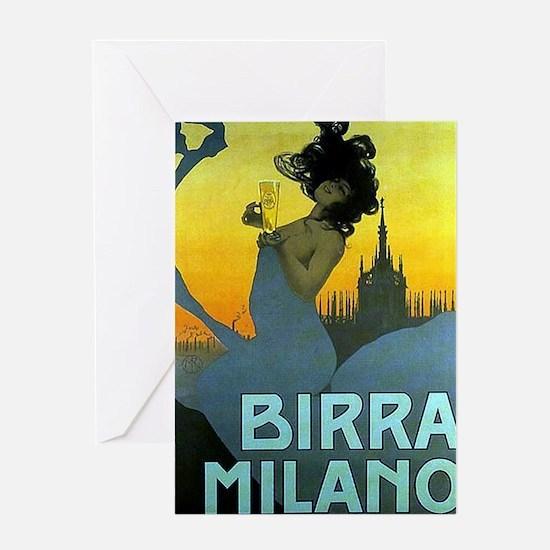 Birra Milano Vintage Advertisement Greeting Cards