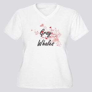 Gray Whales Heart Design Plus Size T-Shirt