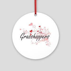Grasshoppers Heart Design Round Ornament