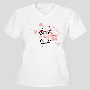 Giant Squid Heart Design Plus Size T-Shirt
