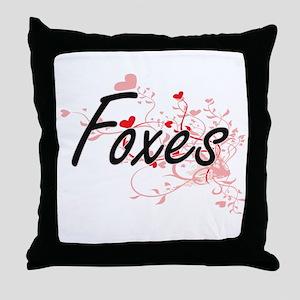 Foxes Heart Design Throw Pillow