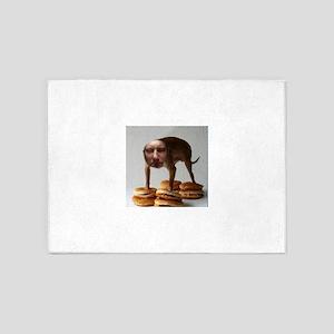 Brett Dog Burger Stand 5'x7'Area Rug