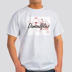 Damselflies Heart Design T-Shirt