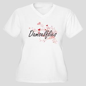 Damselflies Heart Design Plus Size T-Shirt