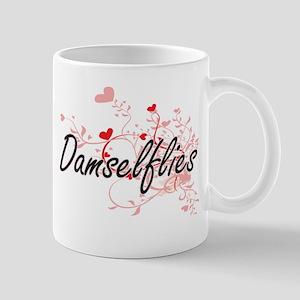 Damselflies Heart Design Mugs