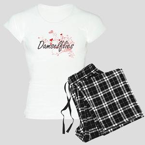 Damselflies Heart Design Women's Light Pajamas