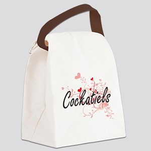 Cockatiels Heart Design Canvas Lunch Bag