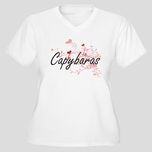 Capybaras Heart Design Plus Size T-Shirt
