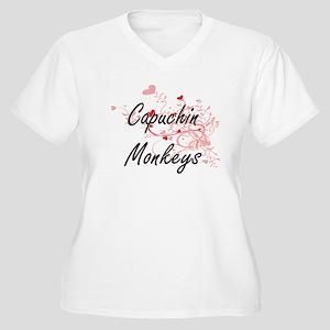 Capuchin Monkeys Heart Design Plus Size T-Shirt