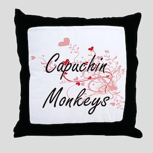 Capuchin Monkeys Heart Design Throw Pillow
