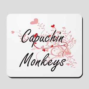 Capuchin Monkeys Heart Design Mousepad