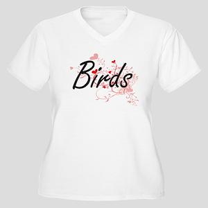 Birds Heart Design Plus Size T-Shirt